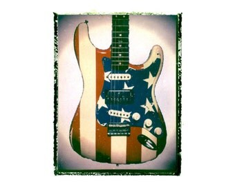 American Flag electric guitar art print / music gift / rock n roll art / music room decor / guitar gift / man cave art