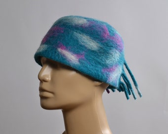 Nuno Felted Hat - Felted Hats - Merino Wool Felted Hat - Winter Hats - Rainbow hat - Gift for her
