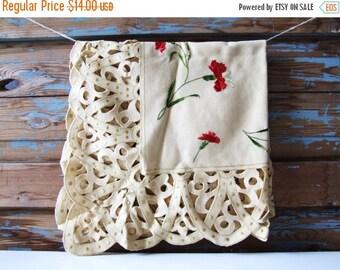 SALE Vintage Retro boho Tablecloth w Red Flowers