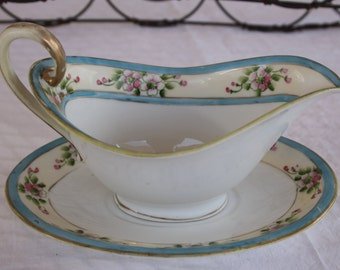 Nippon Gravy Boat and Saucer Hand Painted Pink Flowers Vine Vintage China Turquoise Blue Border