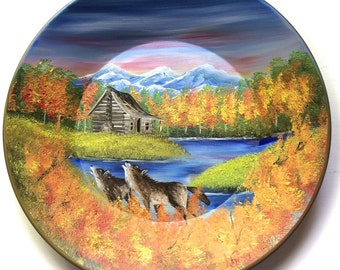 Hand Painted 11 Inch Gold Pans Mountain Fall Cabin and Wolves