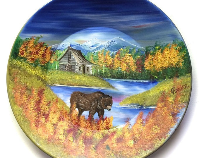 Hand Painted 11 Inch Gold Pans Mountain Fall Cabin and Brown Bear