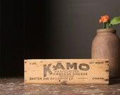 Vintage Home Decor / 1930's / Original Kamo Wooden Cheese Box / Primitive Storage Box