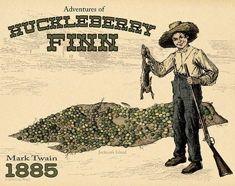 Mark Twain Huckleberry Finn Map Fine Art Print Poster