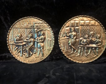 Brass Repoussed Plaques Set of 2