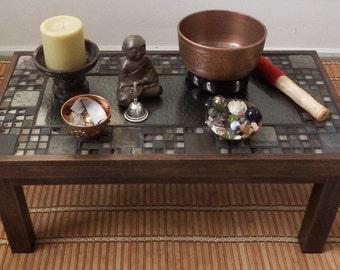 Meditation Table - Plant Stand - Accent Table - Mosaic Tiles - Zen Decor