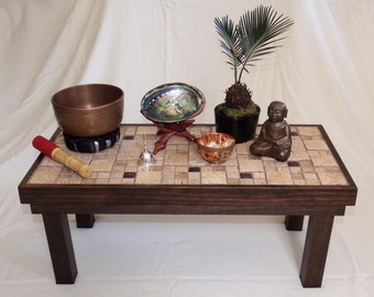 Small Meditation Table   Accent   Plant Table   Rustic, Zen, Asian Decor