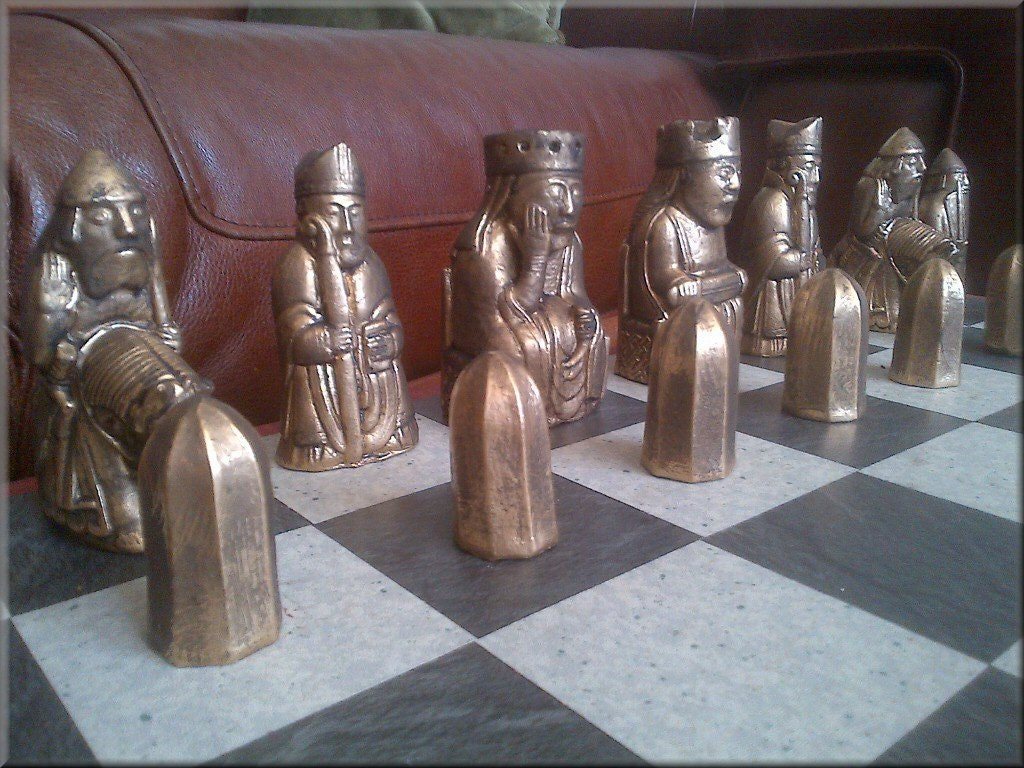 Isle of lewis chess set rare queens biting rooks aged - Lewis chessmen set ...