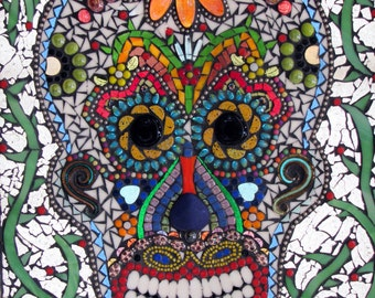 Custom Sugar Skull Day of the Dead Mosaic Art