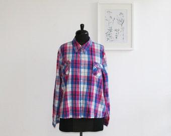 Dressy plaid blouse. Women's blouse. Women's wear. Fashion blouse. Women's top. Women's shirt/ size 48. plus size