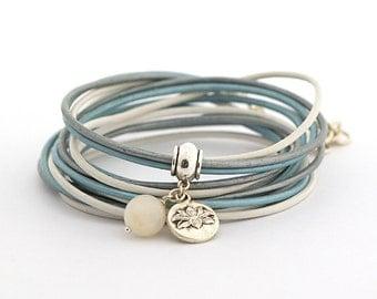 SERENITY Blue White Gray Wrap Bracelet, Lotus Yoga Bracelet, Modern Women Bracelet, Minimalist Jewelry, Ethereal Jewelry, gift for her boho