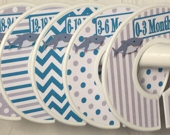 Custom Baby Closet Dividers Clothes Organizers Turquoise Grey Sharks Underwater Sea Ocean Life Nautical CD662 Baby Shower Gift