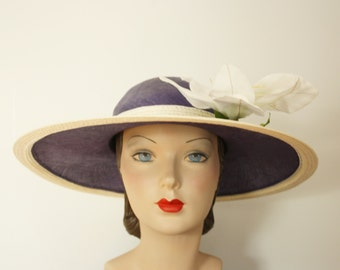 1970s hat | vintage 70s purple kentucky derby hat