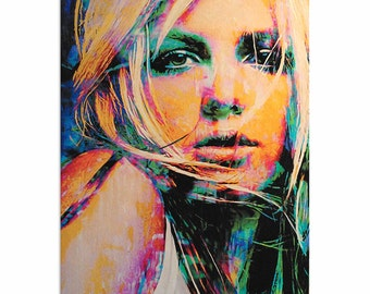 Pop Art 'Britney Spears Snow Blind' by Artist Mark Lewis, Colorful Britney Spears Painting Limited Edition Giclee Print on Metal or Acrylic