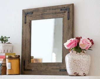 Wood Mirror - Small Rustic Modern Mirror - Reclaimed Wood Mirror - 18x18 Framed Mirror - Bathroom Mirror - Home Decor - Hurd and Honey