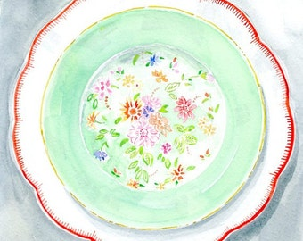 Watercolor Print - Red and Mint Green Flower Plate - Kitchen and Home Wall Decor