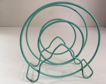 Vintage Art Deco Turquoise  Wire Napkin Holder Mail Organizer Record Storage