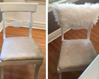 White Fur Chiavari Chair Caps/home decor/style up your dinning chair/custom chair cover/luxury chair covers/white fur chair cover