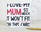 Funny Mum Birthday Card - card for Mom - Mam - Mother - birthday card - funny card - Mum birthday - Mommy - Mummy