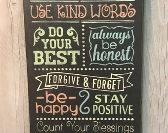 FAMILY RULES  Chalkboard Style  PAINTED Wood Sign not Vinyl