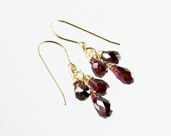 Garnet earrings, Gold filled earrings, deep red gemstone earrings, fine earrings, cluster earrings, January birthstone, gift for her, ER3239
