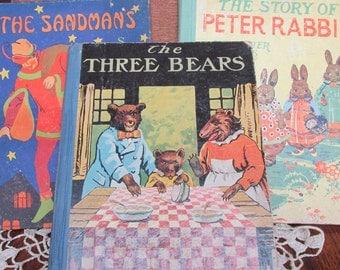 Vintage Antique Children's Books, Old Childrens Books, The Three Bears, Peter Rabbit, The Sandman