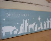 Oh Holy Night Rustic Holiday Christmas Sign
