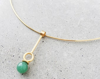Gemstone Drop Choker Necklace / Single Statement Earring / Multi-way / lapis lazuli, malachite, or aventurine / 14k gold vermeil