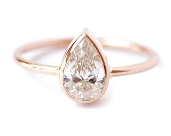 Diamond Ring - Solitaire Pear Diamond Engagement Ring - 0.75 Carat Pear Diamond - 18k Gold