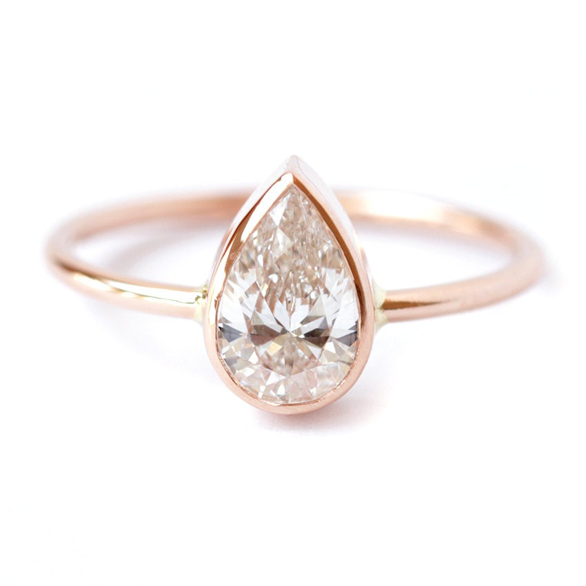 Pear Shaped Engagement Ring Pear Diamond Ring Solitaire