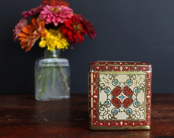 Vintage Tin Box with Hinged Lid Blue Stars Red and Cream Trim Made In Holland