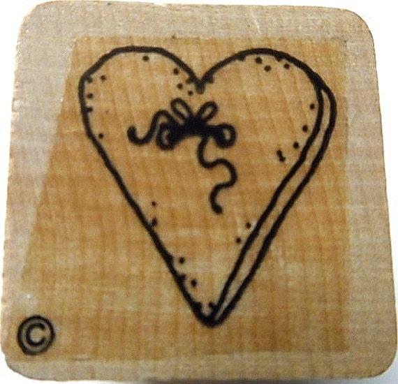 Heart used rubber stamp wood mounted scrapbooking paper for Rubber stamps arts and crafts