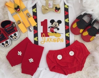 5-pc set Mickey mouse Inspired Birthday outfit-includes personalised top,bottom,Bowtie,legwarmers,Mickey ears