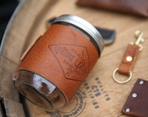 LINE 19 --- Leather Mason Jar From Lifetime Leather Co, Leather Jar , Coffee Mug, 16 oz Mason Jar Cozy, Mug, Jar, Cup,