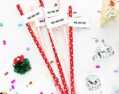 Ho Ho Ho Paper Straws With Flags/Christmas Party Straws/Holiday Straws/Christmas Decoration/Christmas Party/Party Straws/Gift For Girl