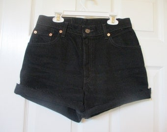 LEVI'S Denim jean cut off shorts size 29 black High Waist Levi's FREE SHIPPING u s a