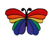 Rainbow Wing Butterfly Patch Cute & Colorful Kids Craft Apparel Iron-On Applique