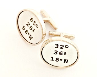 Coordinates Cuff Links - Sterling Silver & Gold Toned Bronze Personalized Hand Stamped Cufflinks - Custom Latitude Longitude Location Gift