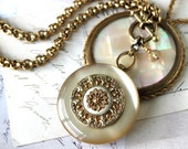 Chunky Necklace, Super Sized Lucite & Antique Filigree Button Necklace Toggle, Luminous Champagne color, Antique Button Jewelry veryDonna