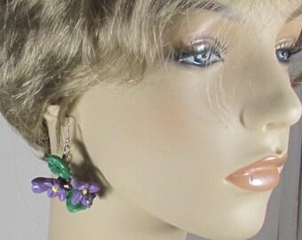 Violet earrings,  Spring flower earrings, Flower earrings  Violet flower earrings