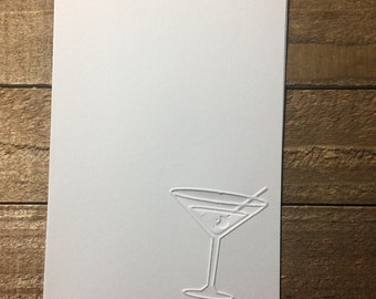 Martini Cards,  White Embossed Note Cards, Martini Note Card, Greeting Card, Stationery Set, Martini Blank Card Set