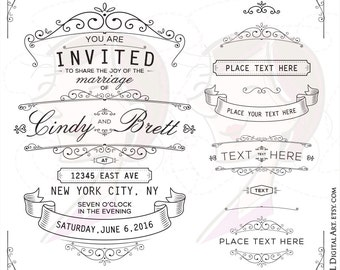 Wedding Ornate Vintage Old Fashioned Elegant Frame Vector Save The Date Engagement Clipart Unique Retro Styled Banner Commercial Use 10040