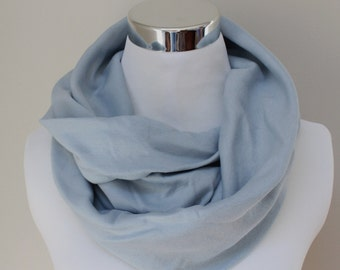 Organic Cotton Circle Scarf in Light Blue // Infinity Scarf