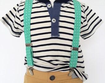 Spearmint Mint Polka Dot Suspenders