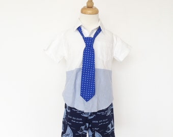 Royal Blue Polka Dot Necktie for Boys