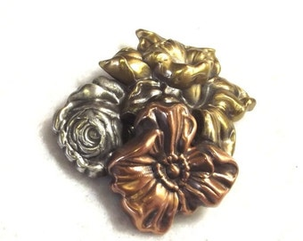 SALE, Tri-Color Metal Flower Pin -  Vintage Costume Jewelry - Spring Flower Brooch - Mothers Day Jewelry