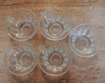 Set of FIVE Glass Punch Cups
