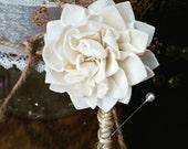 Boutonniere, Sola Wood Boutonniere, Wedding,  Sola corsages, White Boutonniere, Sola Bouquets