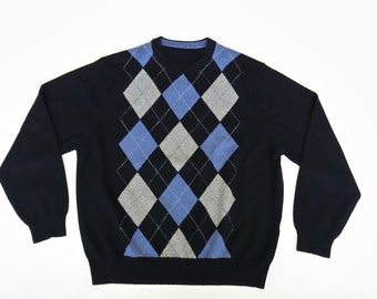Cashmere Black Sweater • Men's Argyle Sweater • Crew Neck Pullover Sweater • Luxury Extra Soft and Thick Cashmere • Size L XL