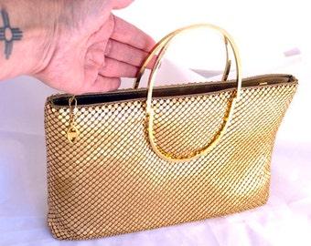 Vintage Gold Chain Mesh Purse by Marlo Gold Solid half round handles Handbag dressy classy